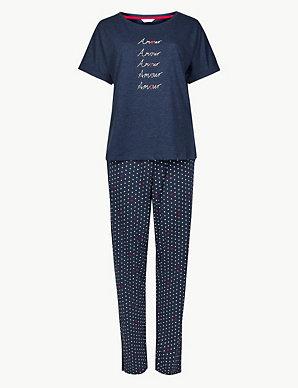 1f45014bf Amour Slogan Short Sleeve Pyjama Set