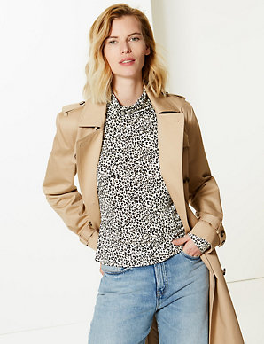 126fc9073ee962 Animal Print Funnel Neck Long Sleeve Top | M&S Collection | M&S
