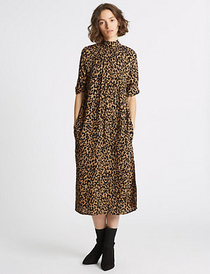 7dc3c4aa9a74 Animal Print Half Sleeve Shift Midi Dress   Limited Edition   M&S
