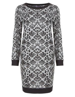 1b3564f12bed Animal Print Jacquard Tunic Dress | M&S Collection | M&S