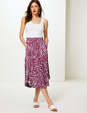 c8de772799d0 Animal Print Jersey A-Line Midi Skirt | M&S Collection | M&S