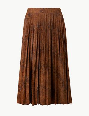 22046689314c Animal Print Jersey Pleated Midi Skirt   M&S Collection   M&S