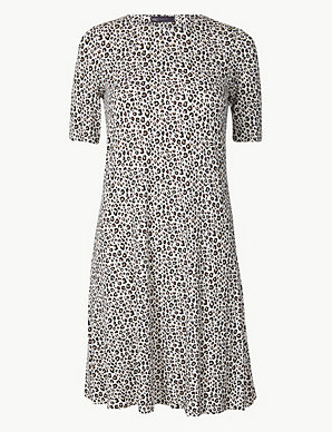 e899adada07 Animal Print Jersey Swing Dress