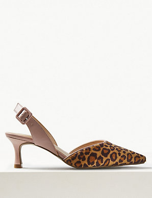 540c7818b2ea Animal Print Kitten Heel Slingback Shoes | M&S Collection | M&S