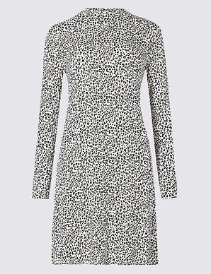51f6746311f Animal Print Long Sleeve Swing Dress