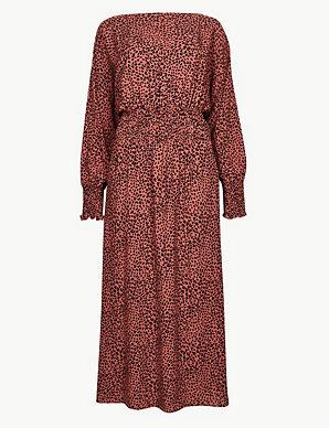 632db31a3719 Animal Print Long Sleeve Waisted Midi Dress | M&S Collection | M&S