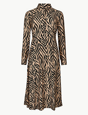 67f4436eedd4 Animal Print Midi Shirt Dress | M&S Collection | M&S