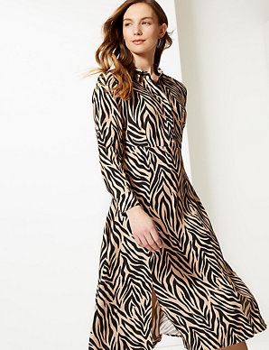 02bc2ed2fd Animal Print Midi Shirt Dress