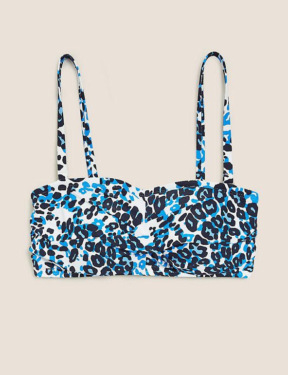 P135.1 Ex Marks and Spencer Animal Print Bandeau Bikini Top Size 8-24