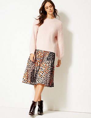 93ff5e3d2e4c Animal Print Pleat Midi Skirt | M&S Collection | M&S