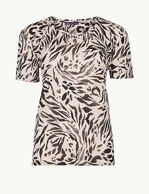 b849bc24e9962a Animal Print Relaxed Fit T-Shirt | M&S Collection | M&S