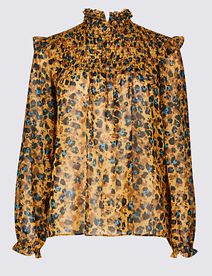 6d8450a75 Animal Print Round Neck Long Sleeve Blouse | M&S Collection | M&S