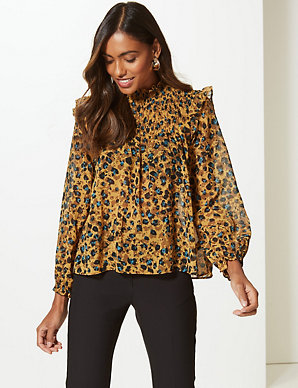 6e91340a2aa5 Animal Print Round Neck Long Sleeve Blouse   M&S Collection   M&S