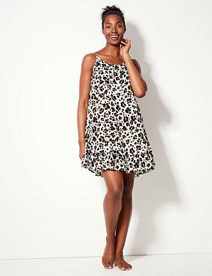 56a76ea8750b Animal Print Slip Beach Dress   M&S Collection   M&S