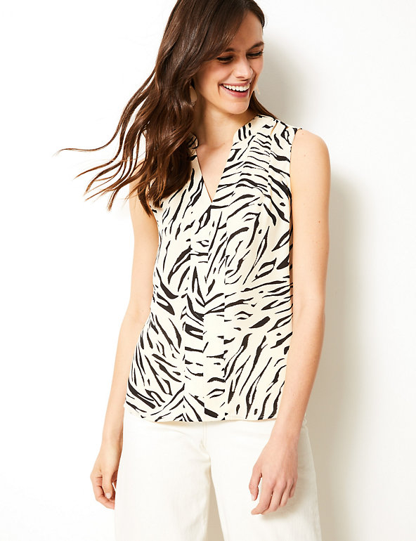 Animal Print V-Neck Shell Top