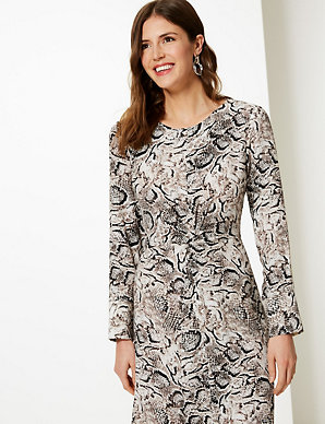 7e4b105ae Animal Twist Front Fit & Flare Midi Dress | M&S Collection | M&S