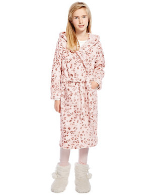 d5d38cbfa3 Anti Bobble Hooded Leopard Print Dressing Gown (6-16 Years)