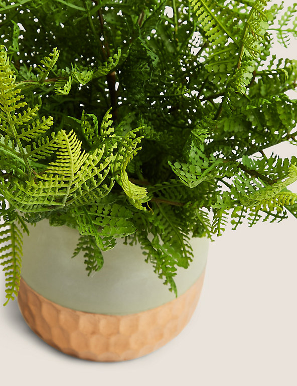Artificial Fern In Striped Pot M S