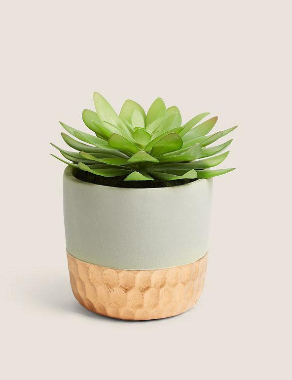 Artificial Succulent In Metallic Pot M S