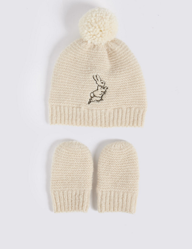 mittens and booties set New hat Peter Rabbit Knitted baby cardigan