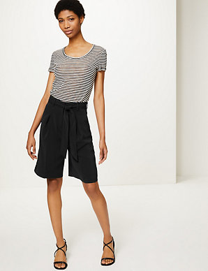 9eb2a09a2fa37 Belted High Waist Tailored Shorts | M&S Collection | M&S