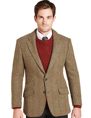 3216cde7c660 Big & Tall Luxury Pure Wool 2 Button Harris Tweed Checked Jacket