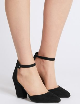Block Heel Ankle Strap Court Shoes | M