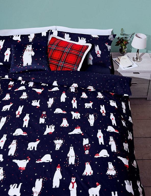 Brushed Cotton Polar Bear Bedding Set M S, Polo Bear Bedding Queen