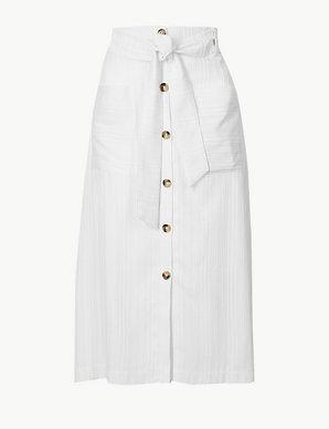 f3450688ad44 Button Detailed A-Line Midi Skirt | Per Una | M&S