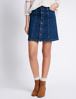 a81f556cda Button Through A-Line Skirt | Indigo Collection | M&S