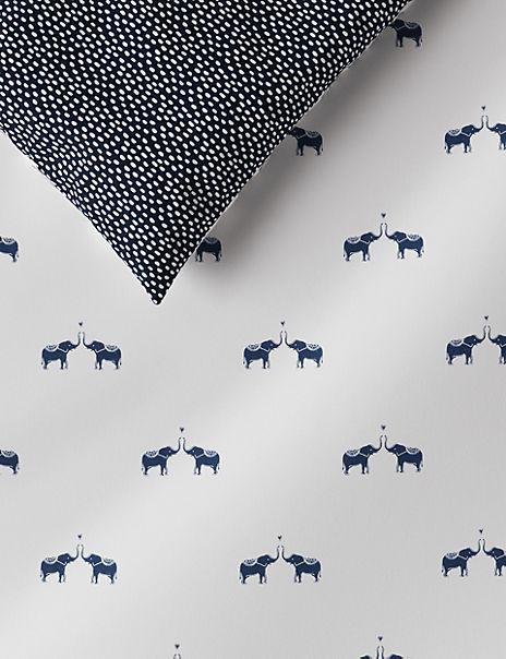 Elephant Print Brushed Cotton Bedding Set