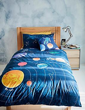 Beddengoedset van puur katoen met ruimtemotief
