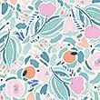 Floral Reversible Bedding Set, AQUA MIX, swatch