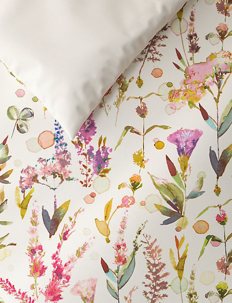 Pure Cotton Sateen Watercolour Floral Print Bedding Set