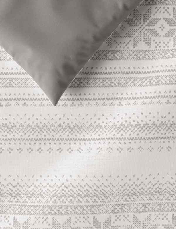 Brushed Cotton Fair Isle Bedding Set   M&S