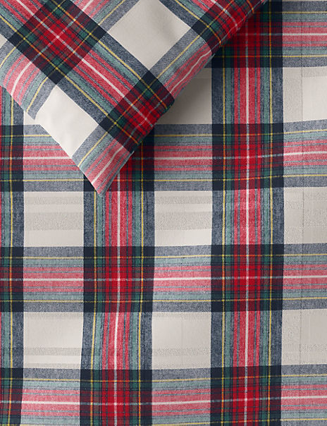 Brushed Cotton Sparkle Checked Bedding Set
