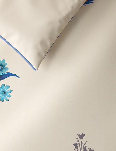 Japanese Floral Print & Embroidered Bedding Set