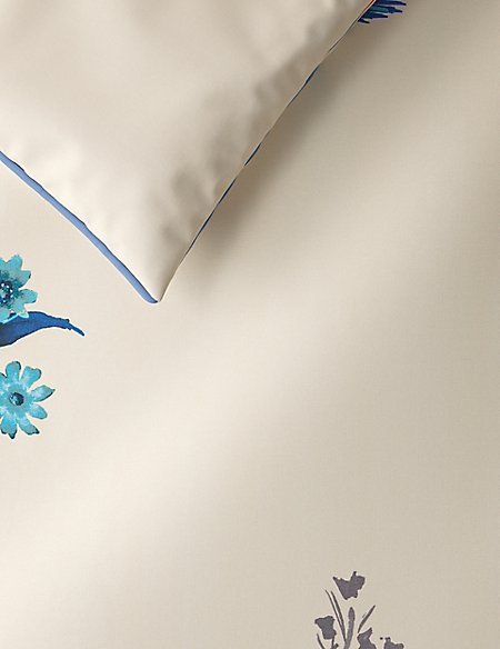 Japanese Floral Print & Embroidered Bedding Set