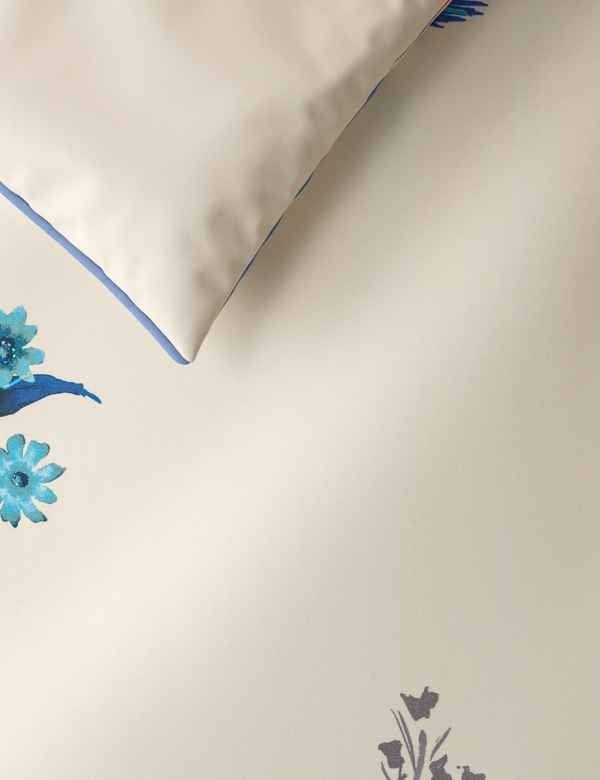 b47f6be7507ae6 Japanese Floral Print   Embroidered Bedding Set