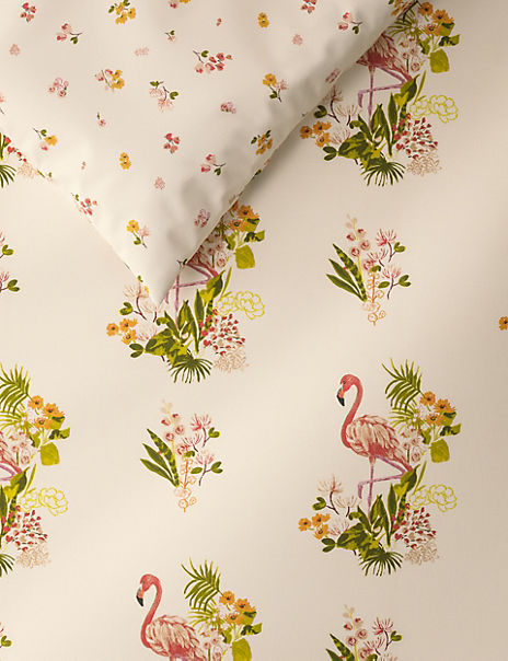Floral Flamingo Printed Bedding Set