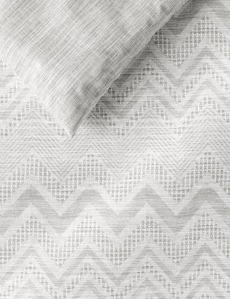 Chevron Stripe Textured Cotton Bedding Set