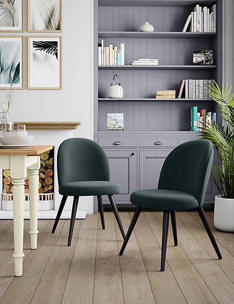 Set of 2 Velvet Grey Round Back Chairs