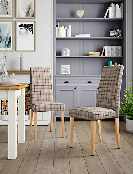 Set of 2 Purple Check Dining Chairs