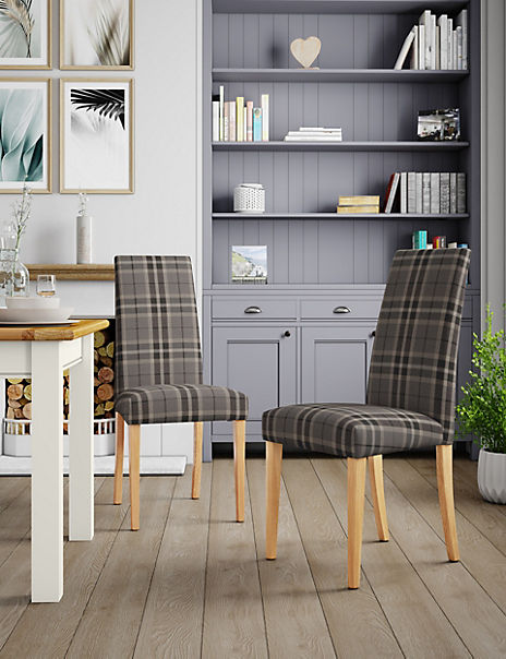 Set of 2 Grey Check Dining Chairs