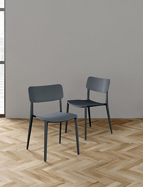 Set of 2 Black Rectangular Back Dining Chairs