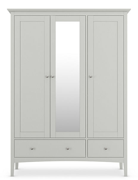 Hastings Wooden Triple Wardrobe with Mirror