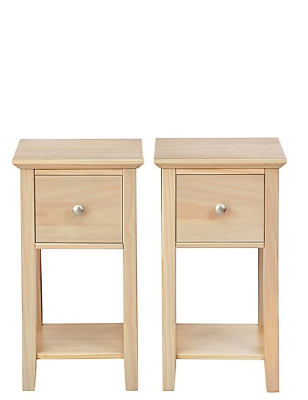 Set of 2 Hastings Compact Bedside Chest Soft White