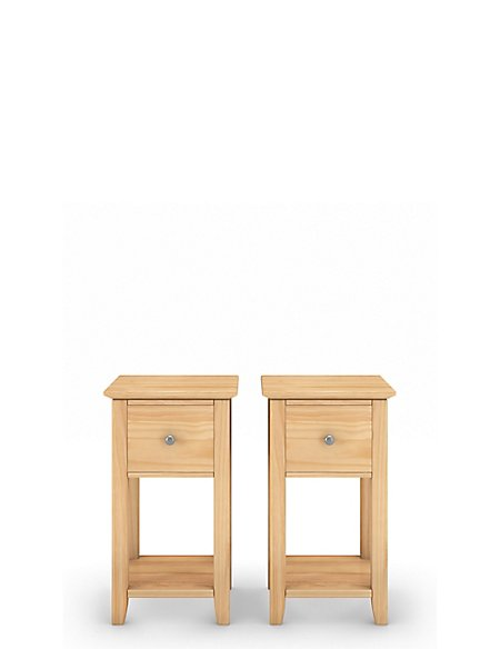 Set of 2 Hastings Light Natural Compact Bedside Chest