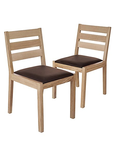 Set of 2 Sonoma™ Blonde Leather Dining Chairs