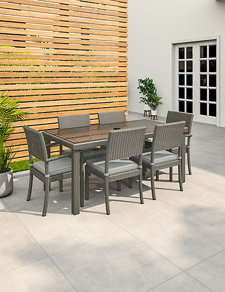 Marlow Grey Garden Table & Set of 6 Chairs